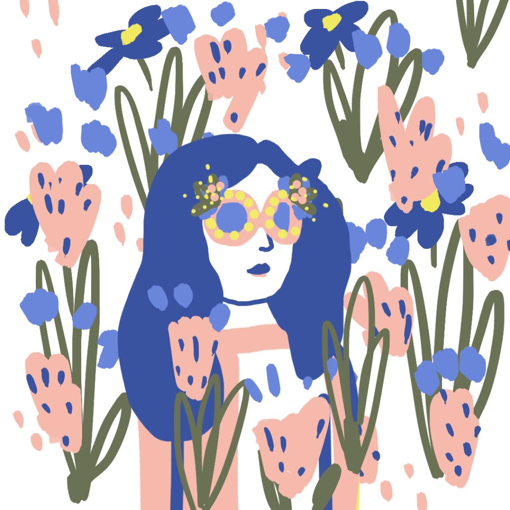illustration femme et fleurs