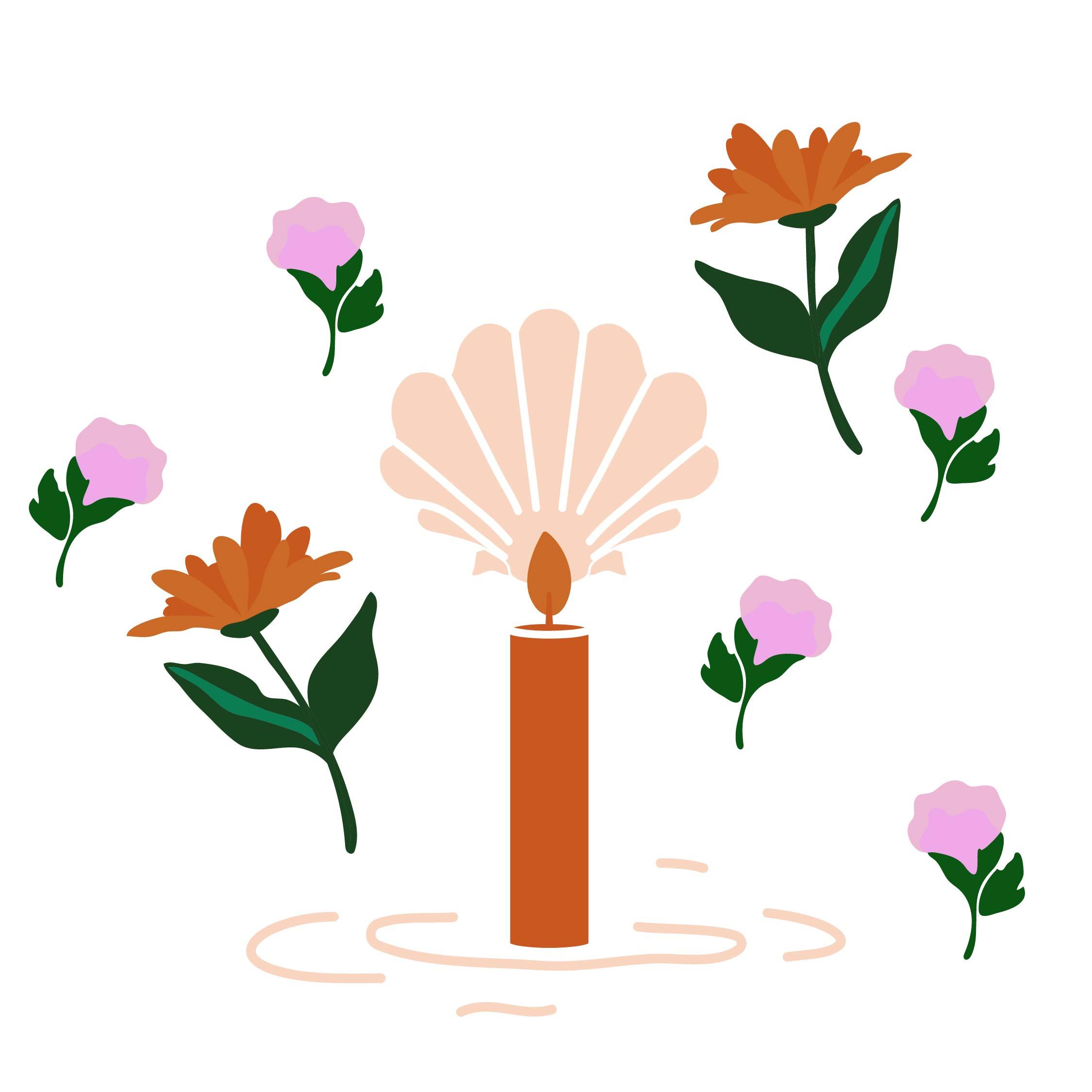 illustration bougie coquille saint jacques et fleurs