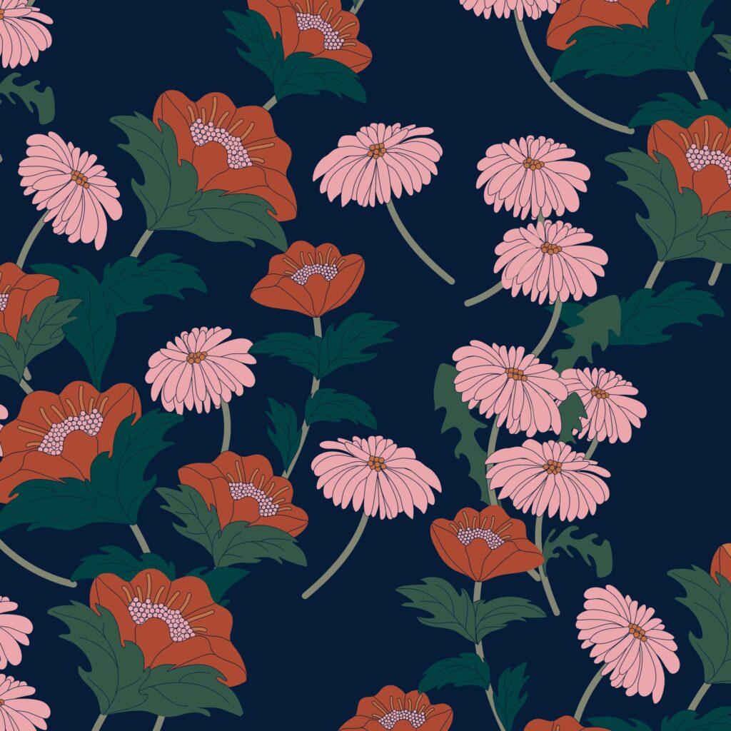 motif automne fleurs au vent
