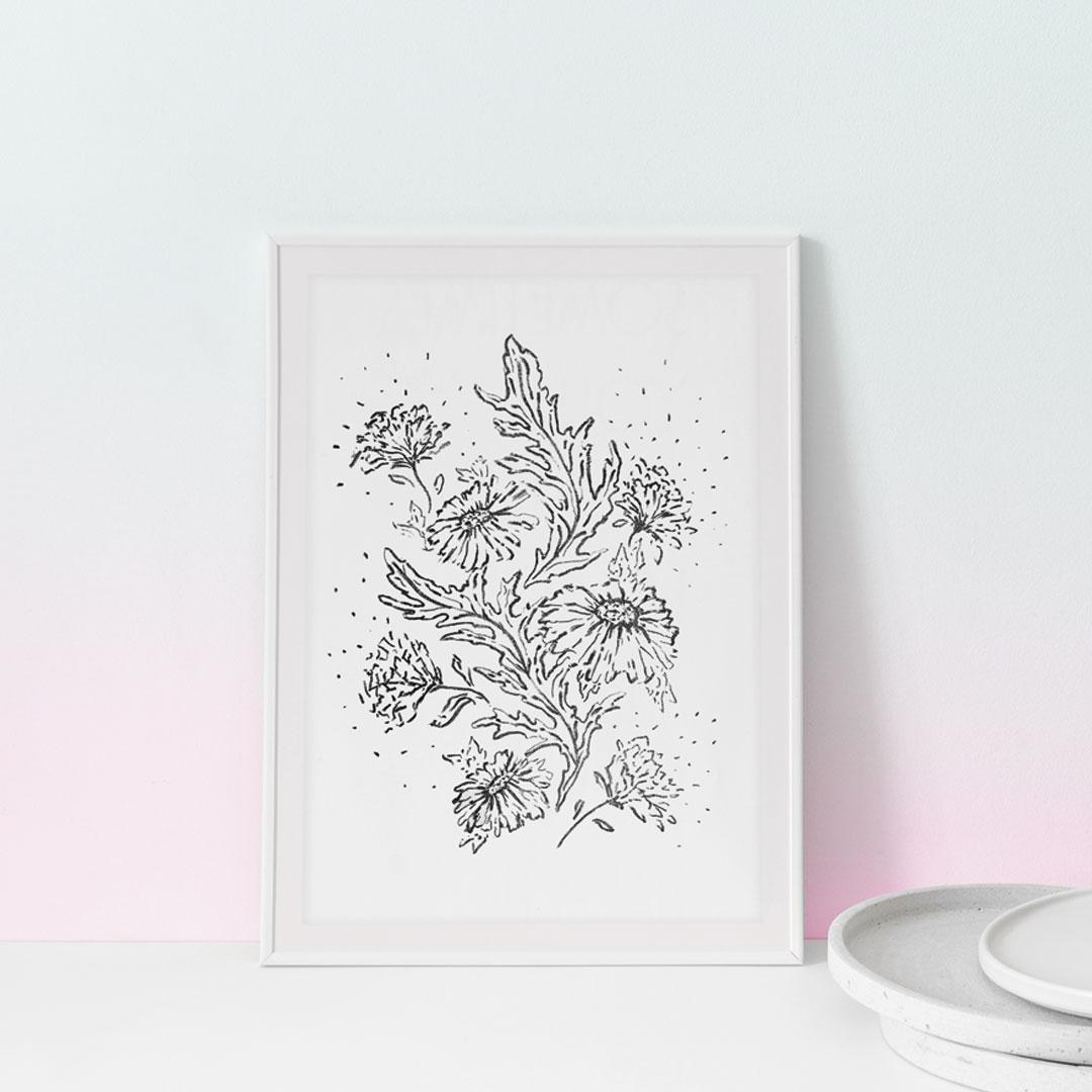 Lithographie cadre fleurs noires