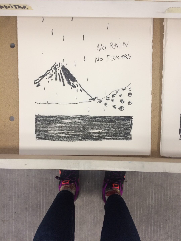 vue sur lithographie encre noir montagne no rain no flowers