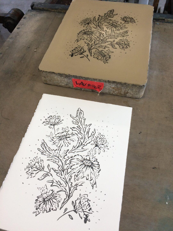 lithographie encre noir fleurs Abloom