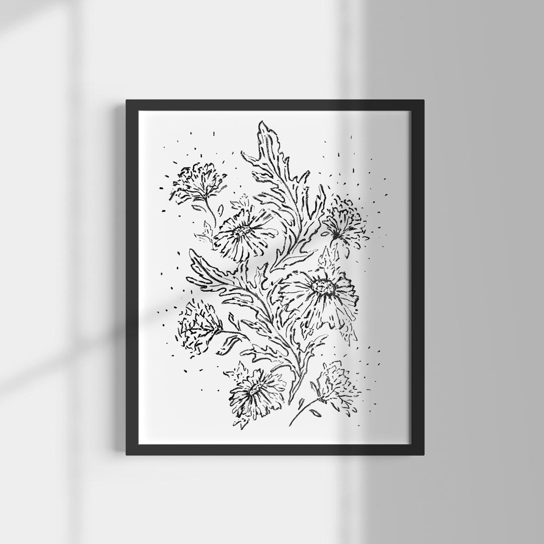 lithographie encadrée encre noir fleurs Abloom