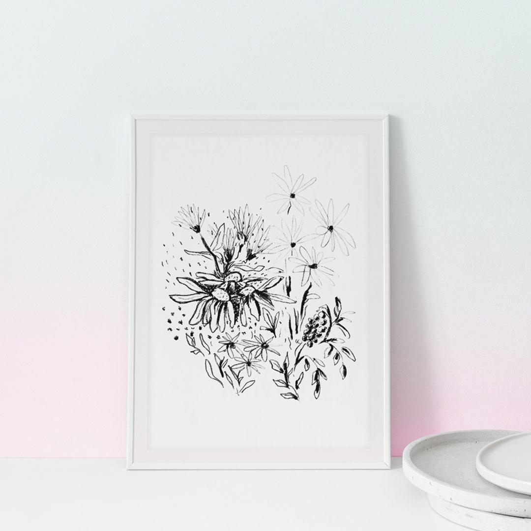 Lithographie cadre dessin fleurs trait noir