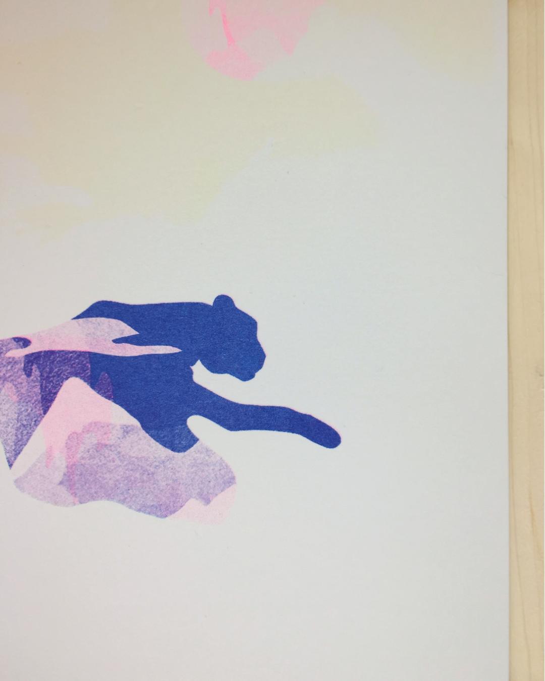 Risographie panthère bleue affiche A4