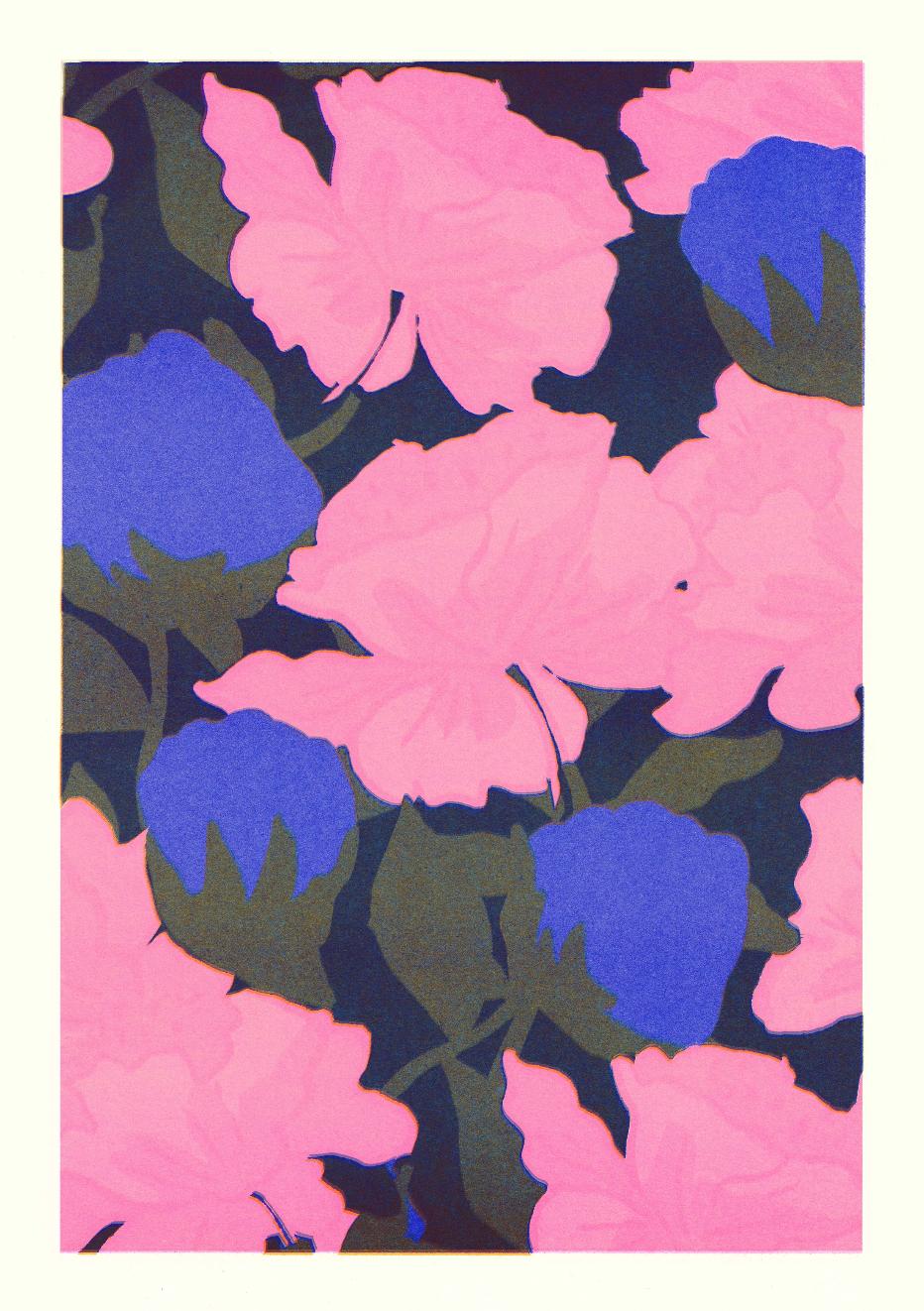 Affiche A4 fleurs roses et bleues