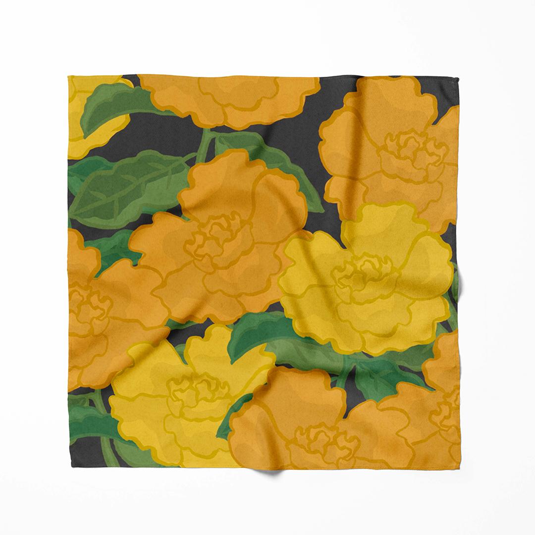 foulard fleurs orange et jaune